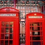 Red Telephone boxes at Smithfield meat market, London