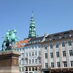 copenhagen_547 statue of Absalon and the tower of the Saint Nicholas Church